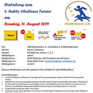 Einladung zum Rally-Obedience Turnier in Rodenbach 2019